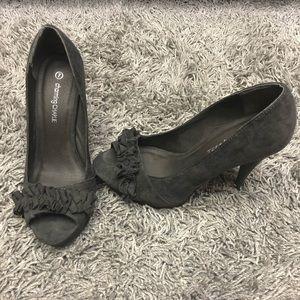 Charming Charlie Charcoal Gray Peep Toe Heels Sz 7